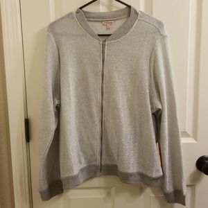 NWT Juicy Couture Metalic Grey Bomber Jacket